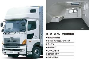 日野トラックのスーパールーフは快適なベッドスペース 画像